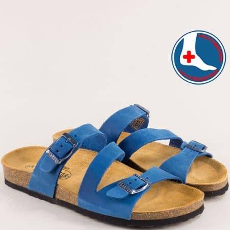 Дамски чехли с две катарами от естествен набук в синьо- PLAKTON 101210ns