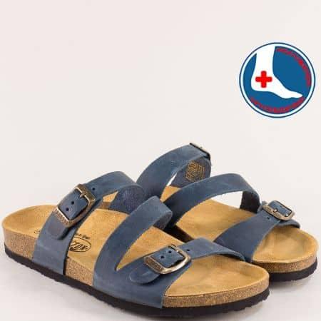Сини дамски чехли от естествен набук с две катарами- PLAKTON 101210nts