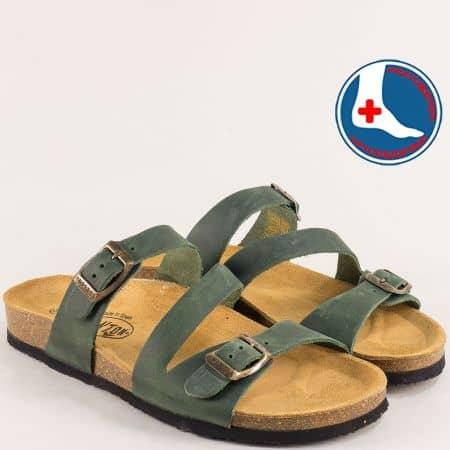 Дамски чехли с две катарами от естествен набук в зелено- PLAKTON 101210ntz