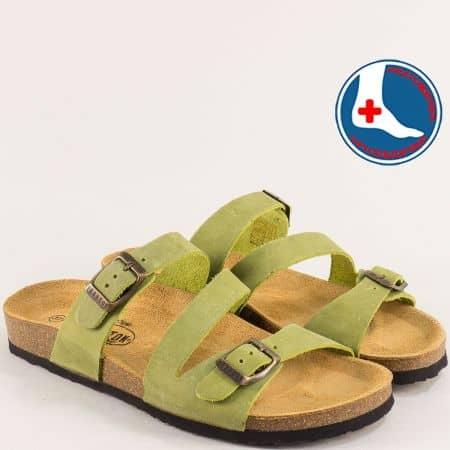 Зелени дамски чехли с две катарами от естествен набук- PLAKTON 101210nz