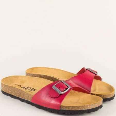 Червени дамски чехли с анатомично ходило от естествена кожа 101625chv