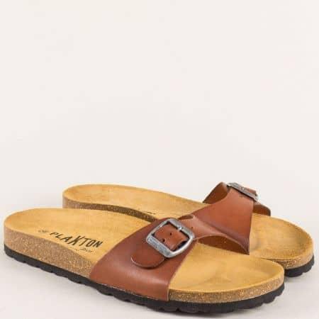 Дамски чехли от естествена кожа в кафяв цвят на комфортно анатомично ходило 101625k