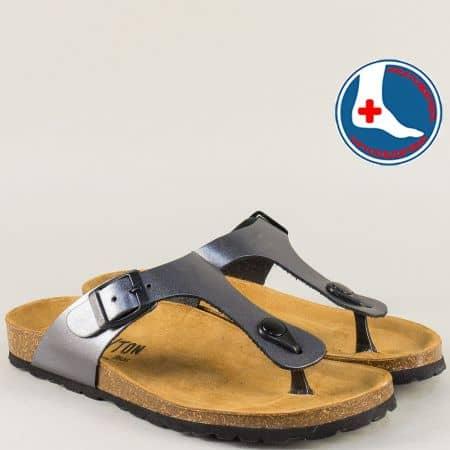 Бронзови дамски чехли с катарама от естествена кожа- PLAKTON 101671brz