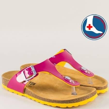 Цикламени дамски чехли от естествена кожа 101671lckj