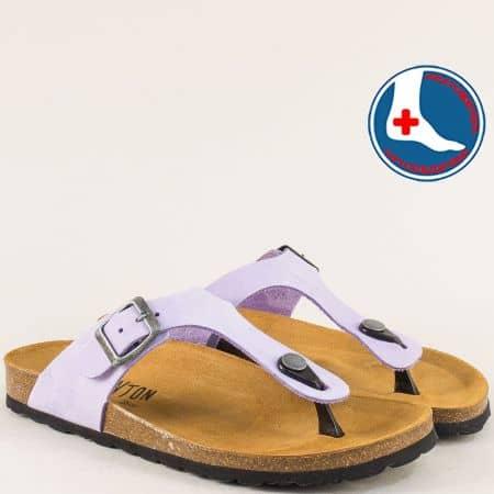 Дамски ортопедични чехли от естествена кожа в лилаво 101671nl