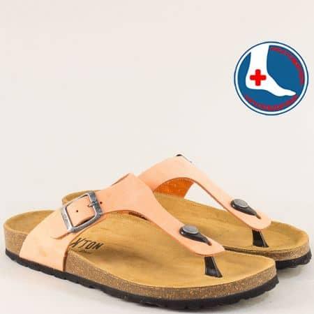 Анатомични дамски чехли от естествен набук в оранж 101671no