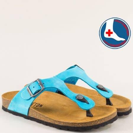 Тюркоазено сини дамски чехли от естествен набук 101671ns