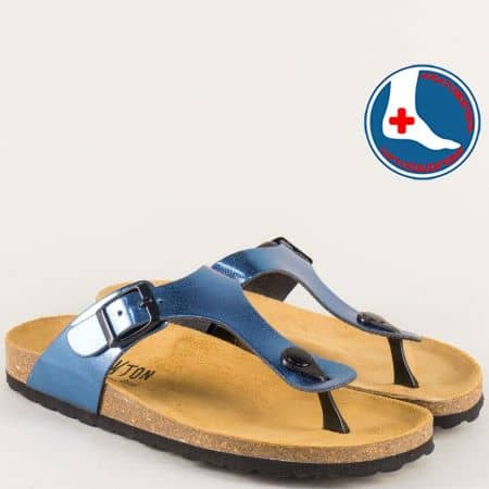 Сини дамски чехли с катарама на анатомично ходило 101671ts