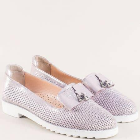 Лилави дамски обувки с перфорация и кожена стелка 10170250sl