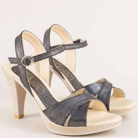 Дамски сандали на висок ток и платформа в черен цвят 10172ch