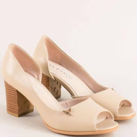 Бежови дамски обувки с отворени пръсти и висок ток 10199bj