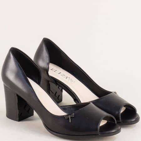 Черни дамски обувки на висок ток с отворени пръсти 10199ch