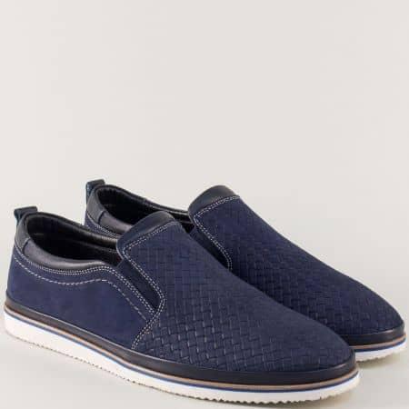 Тъмно сини мъжки обувки от естествен набук на равно ходило 101ns