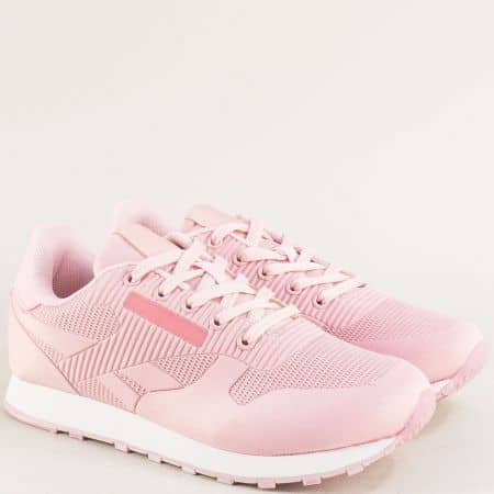 Спортни дамски обувки с връзки в розов цвят 102-40rz