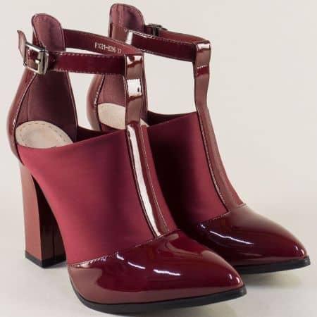 Фешън дамски обувки Елиза на ток в бордо 1021296sbd