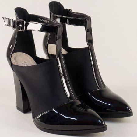 Черни фешън дамски обувки Елиза на ток 1021296sch
