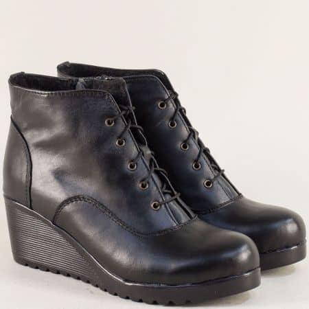 Черни дамски боти на платформа от естествена кожа 1021707ch