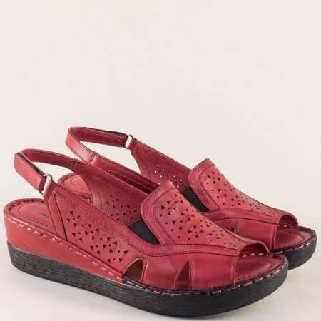 Дамски сандали от естествена кожа в цвят бордо 102355bd