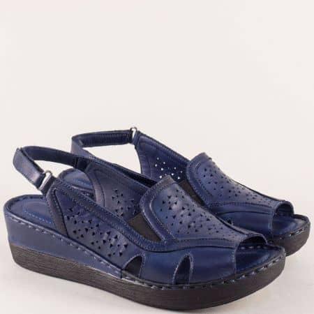 Тъмно сини дамски сандали на платформа с лепка  102355s