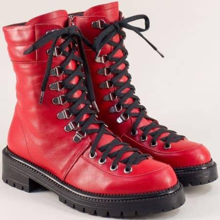 Червени дамски боти от естествена кожа на нисък ток 1024104chv