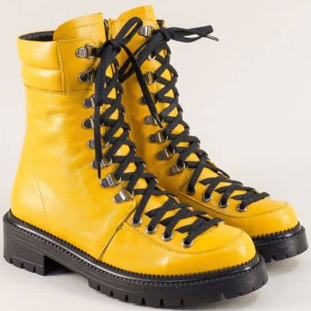 Жълти дамски боти, тип кубинка от естествена кожа 1024104j