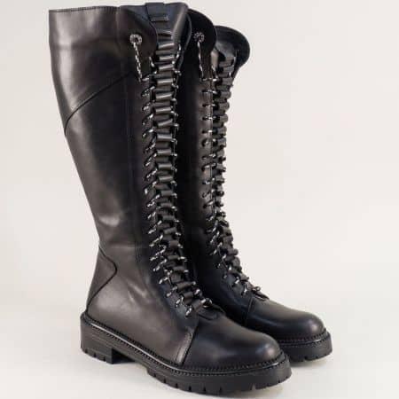 Черни дамски ботуши, тип кубинка от естествена кожа 1024109ch