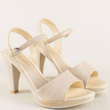 Бежови дамски сандали на висок ток и платформа 10242bj