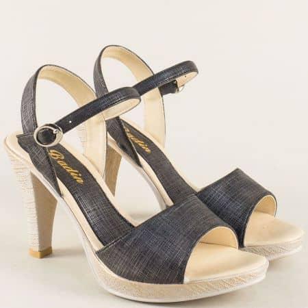 Дамски сандали на платформа и висок ток в черен цвят 10242ch