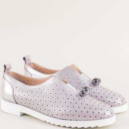 Лилави дамски обувки от сатен и естествена кожа 10260250sl