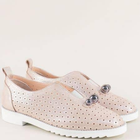 Розови дамски обувки с декорация на равно ходило 10260250srz