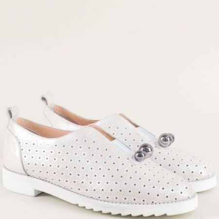 Ежедневни дамски обувки от естествена кожа в сив цвят 10260250ssv