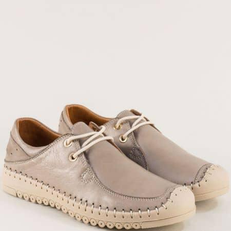 Бежови дамски обувки с връзки от естествена кожа 1027tbj