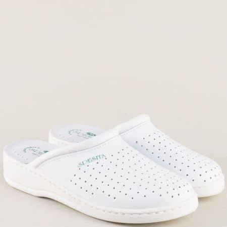 Мъжки анатомични чехли , тип медицинско сабо от естествена кожа 10353b