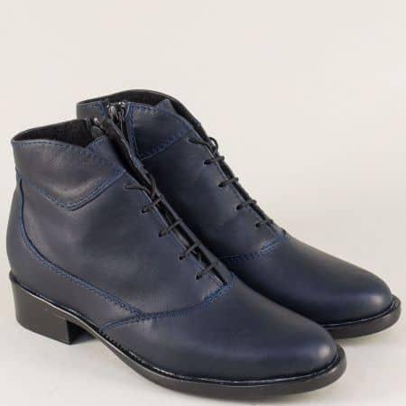 Сини дамски боти на нисък ток от естествена кожа 1042027s