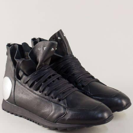 Кожени дамски обувки с цип и връзки в черен цвят- Navvi  10422ch