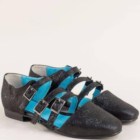 Дамски сандали със затворени пръсти и пета в черен цвят 1046ch