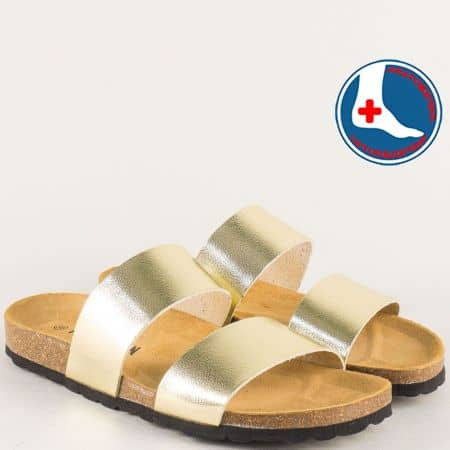 Златни дамски чехли на комфортно анатомично ходило 105051zl