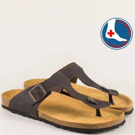 Тъмно кафяви мъжки чехли от естествена кожа- PLAKTON 1050810kk