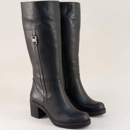 Черни дамски ботуши на ток от естествена кожа 10539ch