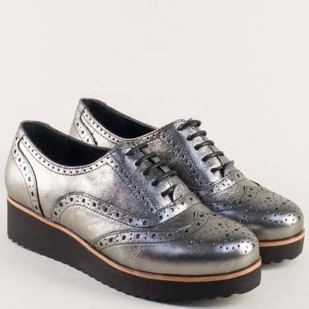 Бронзови дамски обувки от естествена кожа платформа 105523brz
