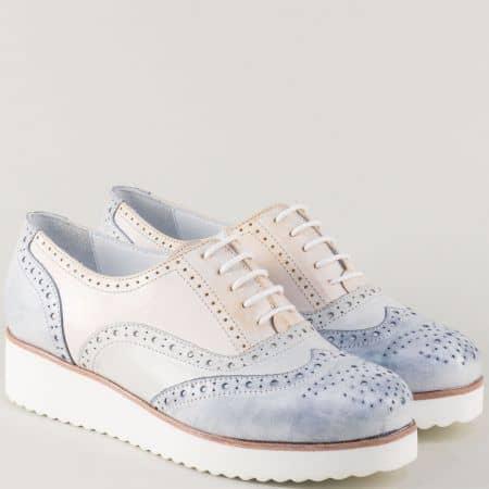 Пъстри дамски обувки от естествена кожа на платформа 105523ps