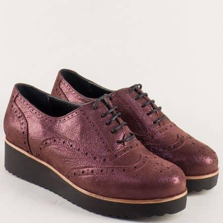 Дамски обувки в цвят бордо с перлен блясък и връзки 105523sbd