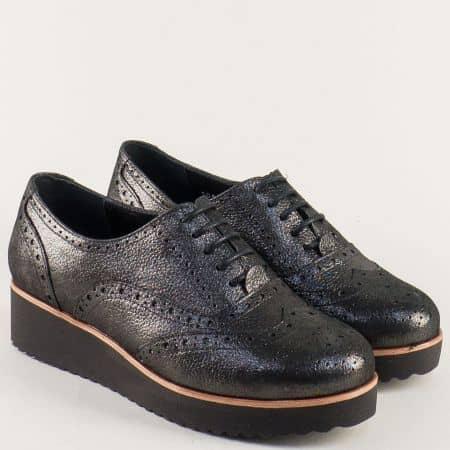 Черни дамски обувки с перлен блясък от естествена кожа 105523sch