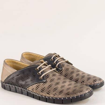 Равни мъжки обувки в черно и бежово с перфорация 1061502bjch