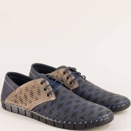 Кожени мъжки обувки с връзки в синьо и бежово 1061502sbj