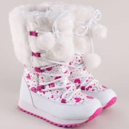 Детски апрески с пухчета в бяло и розово- Унгария 1062-37b