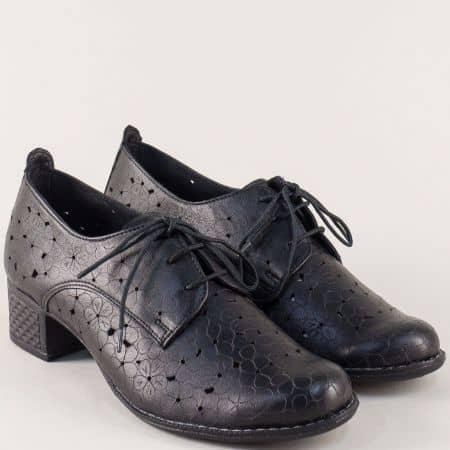 Дамски обувки с връзки на среден ток в черен цвят 10661058ch