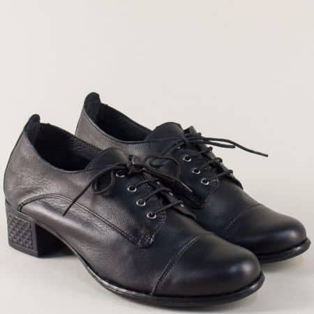 Кожени дамски обувки в черен цвят на среден ток с връзки 1066983ch