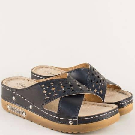Дамски чехли на платформа в черен цвят- JUMP 10678ch