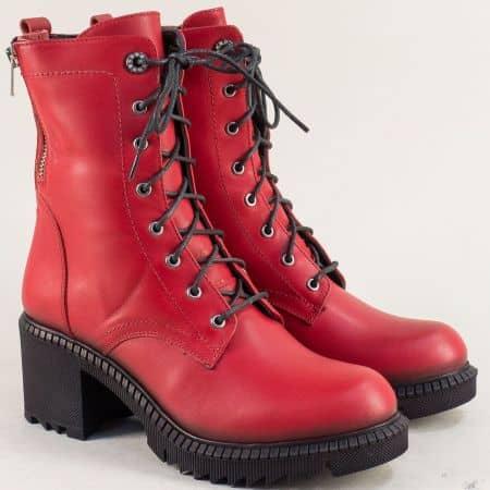 Червени дамски боти на среден ток от естествена кожа 107669chv